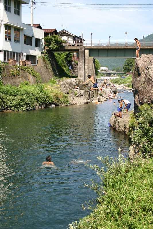 吉田川の川遊び